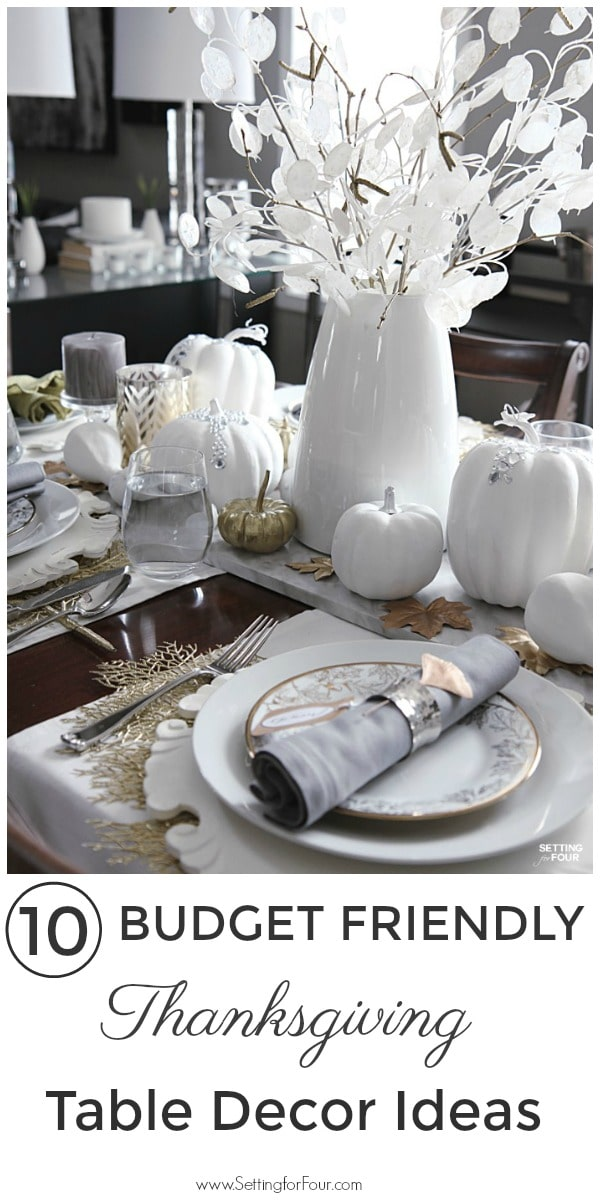 10 Budget Friendly Thanksgiving Table Decor Ideas! Elegant but cheap tablescape ideas. #thanksgiving #table #tabledecor #cheap #elegant #centerpiece #placesetting