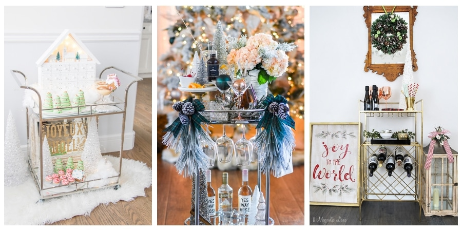 See 6 beautiful bar carts styled for the holidays with festive decor ideas #festive #cheery #decor #entertaining #barcart #bar #cart