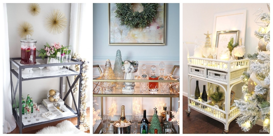 See 6 gorgeous Christmas bar carts and styling ideas! #christmas #decor #simple #easy #styling #style