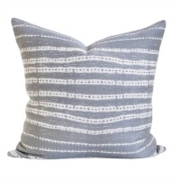 Camino Conch - a stone grey, sand and white organic striped pillow. Fits in as a great neutral with texture in most any pillow mix! #pillow #decor #comfort #living #fabric #pattern #gray