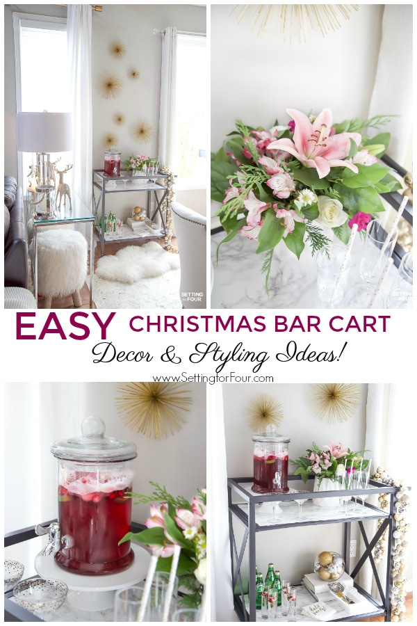 Easy Christmas Bar Cart Decor & Styling Ideas! #easy #christmas #holiday #barcart #decor #christmasdecor #holidaydecor #styling