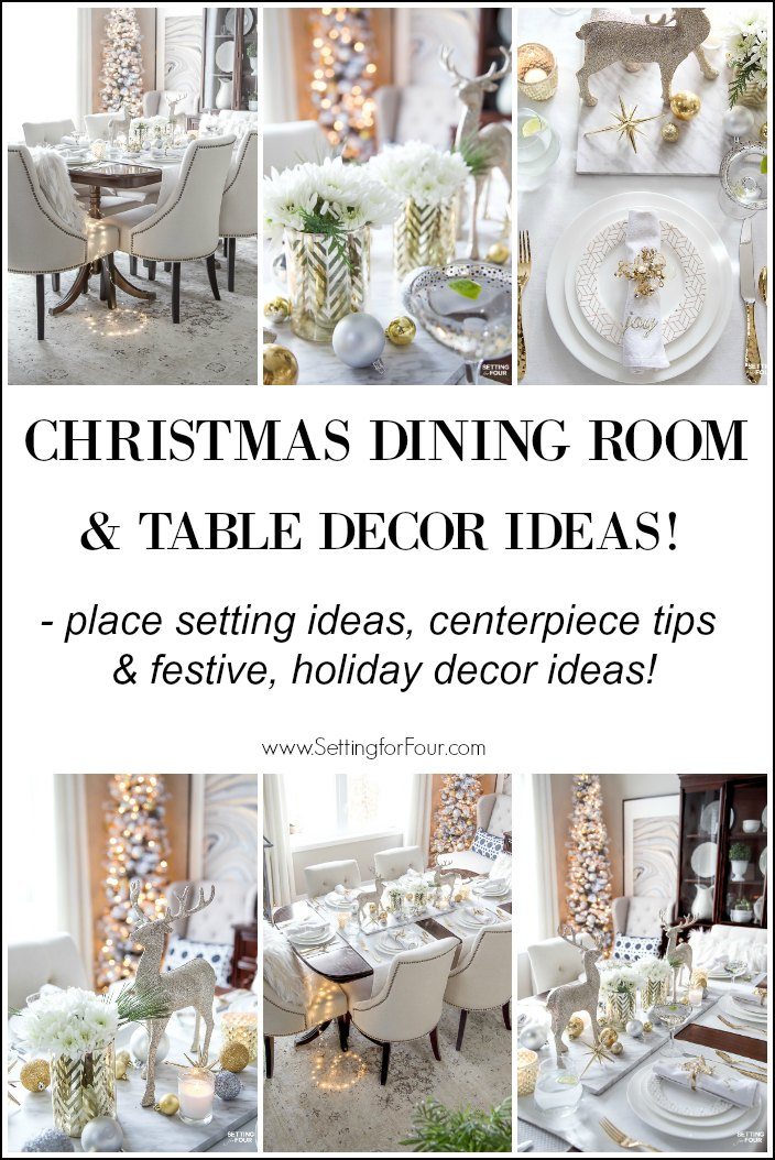 See my Styled and Set Christmas Table Decor Ideas - tips on seating, centerpiece ideas, place setting ideas, festive decor and more! #christmasdecorating #diningroomdecor #tabledecor #glam #elegant #modern