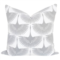 Flock Steam: this graphic bird pattern is ABSOLUTELY breath taking! These birds in flight have a beautiful flocked, velvet like feel. #pillow #decor #comfort #living #fabric #pattern #bird