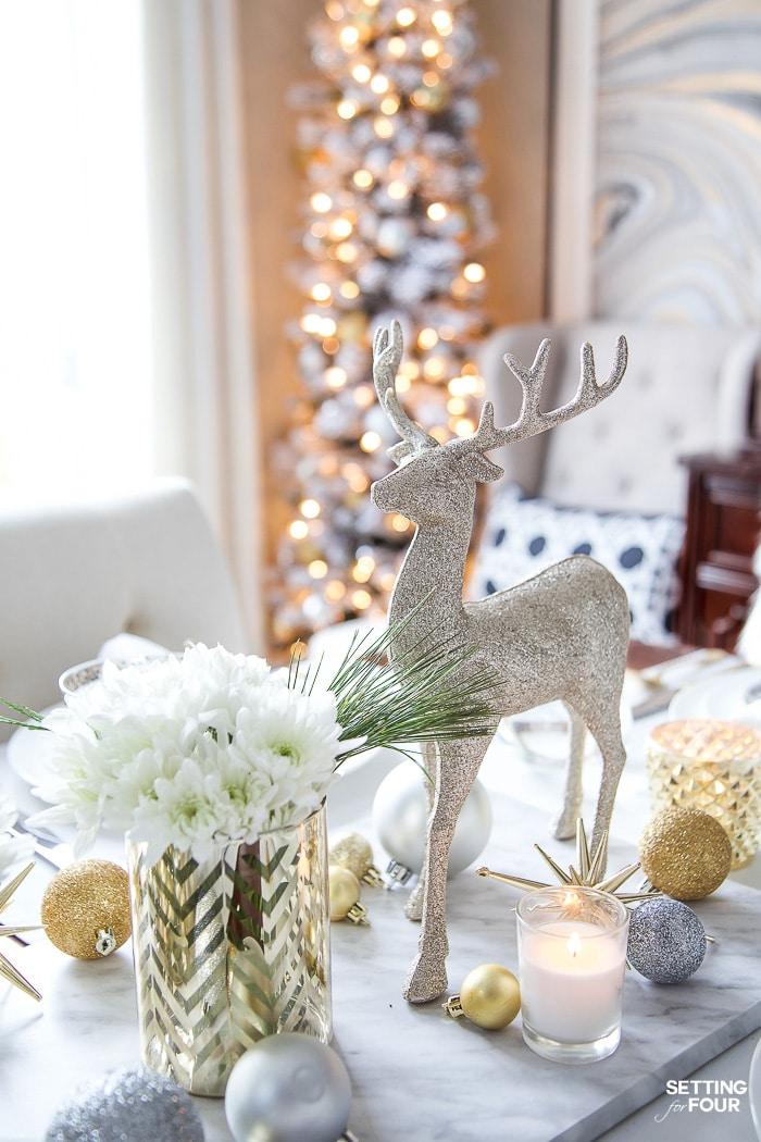 See my Styled and Set Christmas Table Decor Ideas - tips on seating, centerpiece ideas, place setting ideas, festive decor and more! #tablesetting #gold #white #silver #elegant