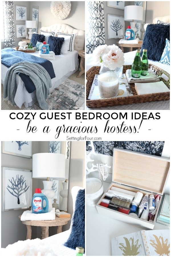 See these cozy guest bedroom ideas to give overnight guests a wonderful experience and make their stay a happy one! Tips to be a gracious hostess. #ad #bedroom #guest #cozy #hostess #PersilLaundry