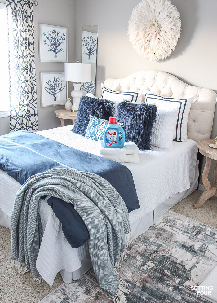 Simple guest bedroom decor ideas. #ad #guest #bedroom #decor #ideas #guestroom #PersilLaundry