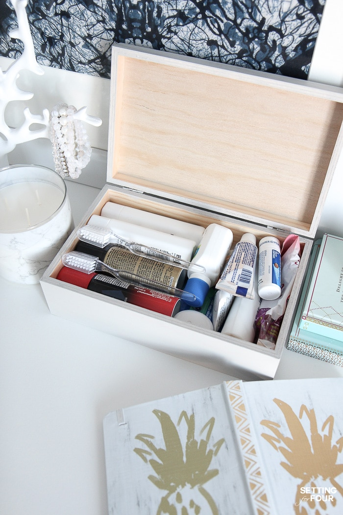 Guest bedroom essentials: a box of travel size toiletries.#ad #simple #guest #bedroom #toiletries #essentials #PersilLaundry