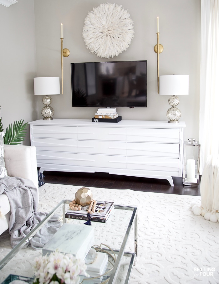 Living Room Makeover and design ideas - New TV Stand, Wall Art, Rug & Pillows! #decor #design #tvunit #tvstandideas #tvwall #sconces #tvdecorideas #wallart #mediaroom #mediaconsole