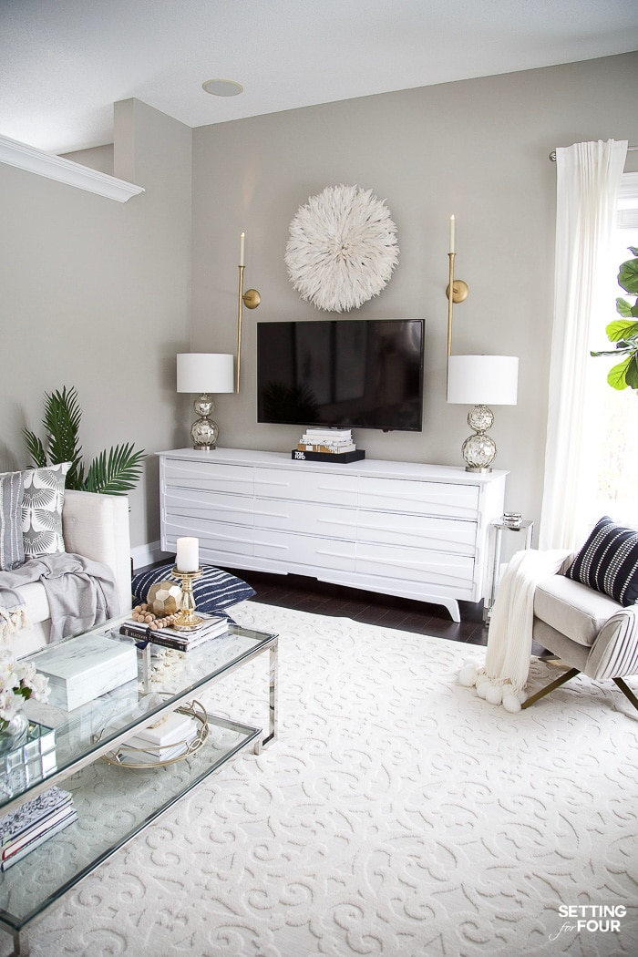 Living Room Makeover - New TV Stand, Wall Art, Rug & Pillows ...
