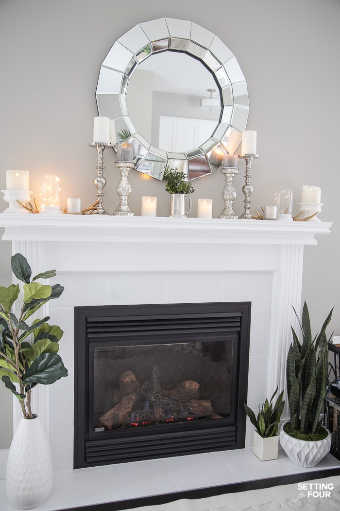 Living Room Makeover #decorideas #interior #interiordesign #livingroom #fireplace #mantel #manteldecor #mirror #plants #decoration