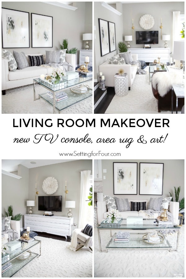 Living room makeover! See the new TV unit, area rug and art I added! #tv #furniture #art #arearug #livingroom #makeover #decor #design #decorations #furniturelayout