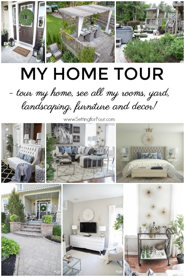 My Home Tour! Tour my home, see all of my rooms, yard, landscaping, furniture and decor ideas! You'll find lots of interior design and decor inspiration here! #decor #decoration #design #interiordesign #outdoors #landscaping #yard #patio #pergola #deck #porch #familyroom #livingroom #foyer #bedroom #bathroom #diningroom