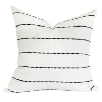 Toulouse Onyx - this is a top seller! This creamy white and black stitch pattern mixes so well with other prints! #pillow #decor #comfort #living #fabric #pattern #black #white