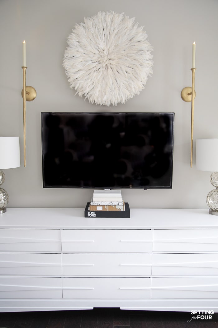 Living Room Makeover and design ideas - New TV Stand, Wall Art, Rug & Pillows! #decor #livingroom #lighting #sconce #tvstand #tvunits #tvconsole #mediaunit #sconces #tvdecorideas #wallart
