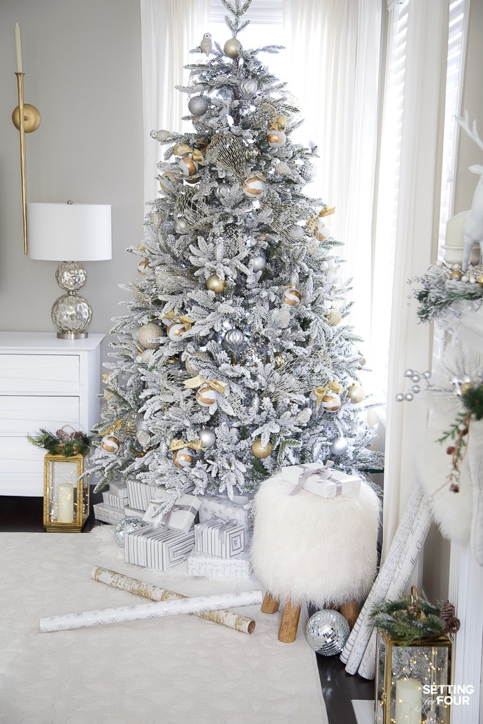 Beautiful Silver & Gold Flocked Christmas Tree Decorations. #christmas #christmastree #christmastreedecorations #christmasdecor #holidaydecor