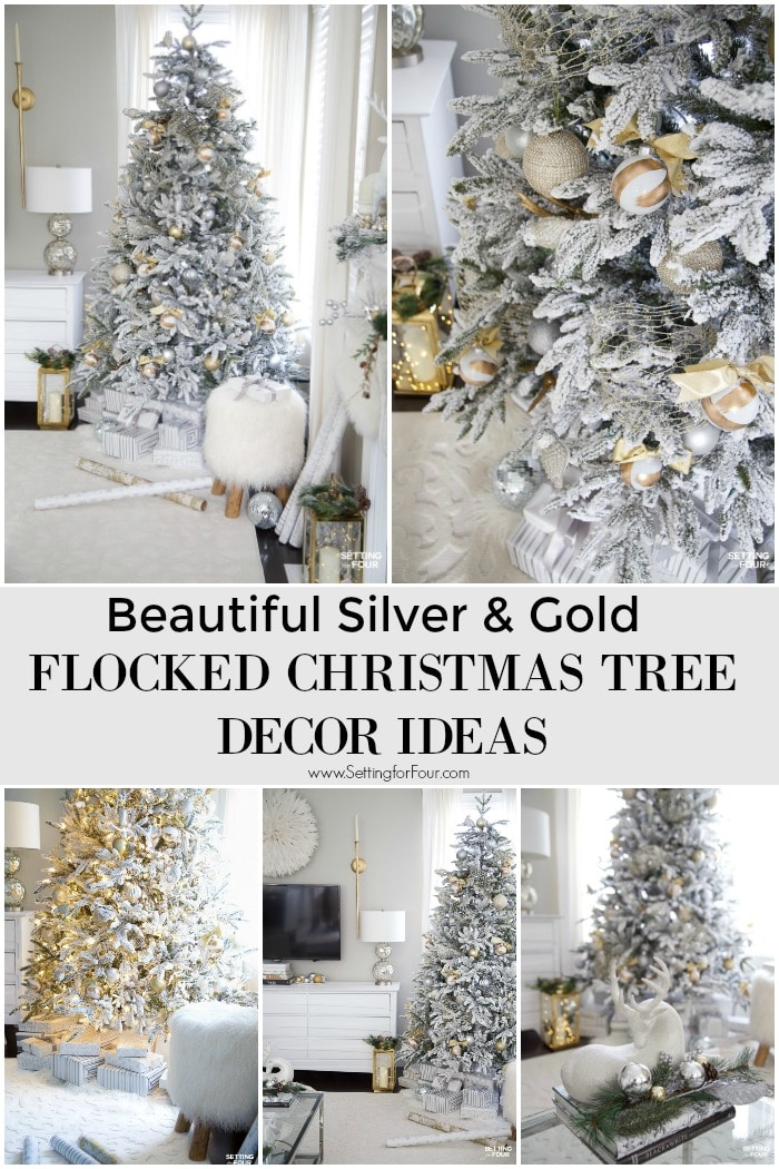 Beautiful Silver & Gold Flocked Christmas Tree Decorations. #christmas #christmastree #xmastree #christmasdecor #holidaydecor #white #flocked