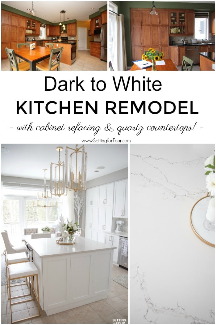 Dark to White Kitchen remodel ideas. Before and after pictures with details on new white cabinets, lighting and Caesarstone quartz countertops. #kitchen #renovation #white #cabinets #caesarstone #quartz #countertop #subway #tile #backsplash