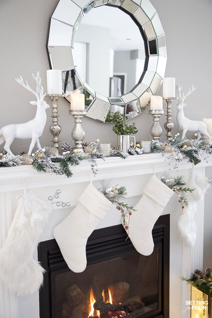 Christmas Mantel Decorating Ideas With Deer, Stockings ...