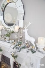 Christmas Mantel Decorating Ideas With Deer, Stockings & Decorative Christmas Picks & Sprays