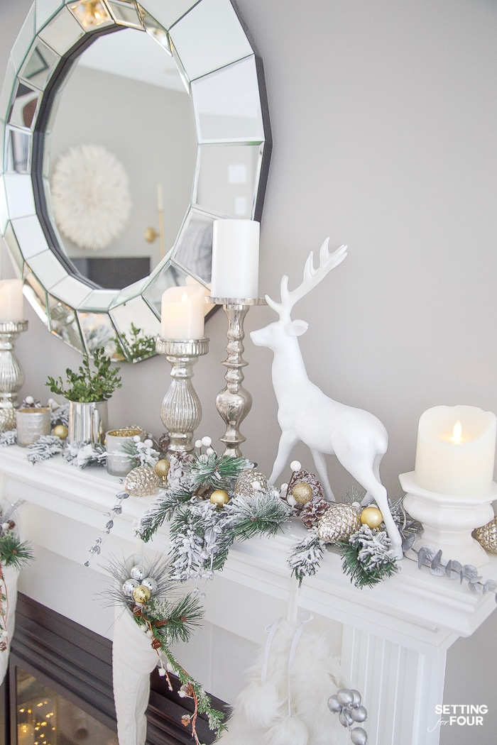 Elegant and simple Christmas mantel decor. #christmas #xmas #holiday #mantel #decor #elegant #simple #rustic