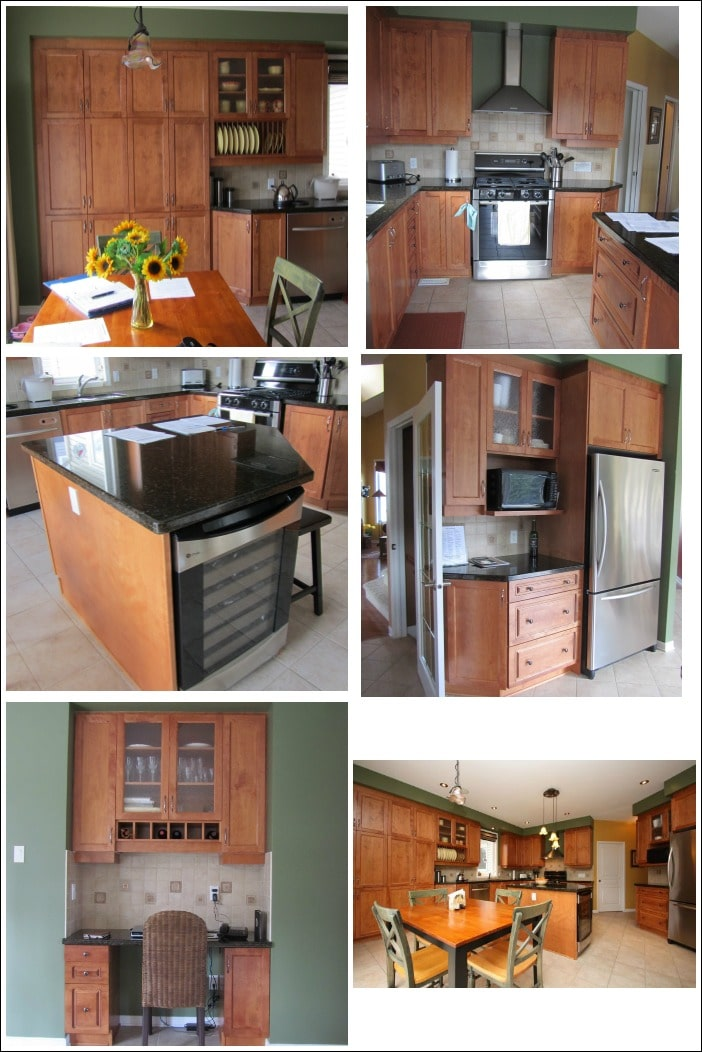 Our kitchen with an island layout looked so small and dark before remodelling it. See the kitchen ideas we used to make it look more modern! #small #kitchen #remodel #refacing #budget #beforeandafter #makeover