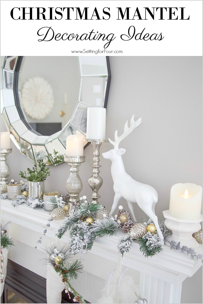 Elegant Christmas Mantel Decorating Ideas. #christmas #mantel #decorations #glitter #garland #modern