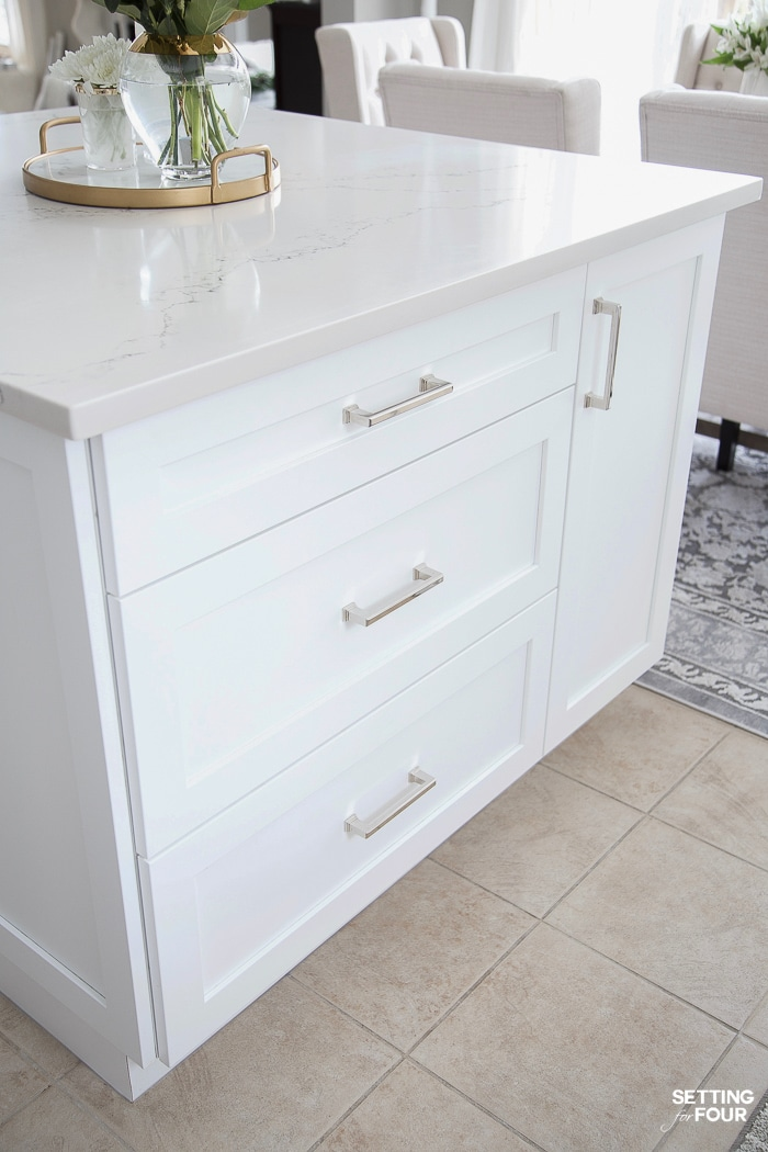 Elegant brushed nickel hardware on pot drawers on kitchen island. #kitchen #island #cabinetry #handles #makeover #glam #simple #elegant