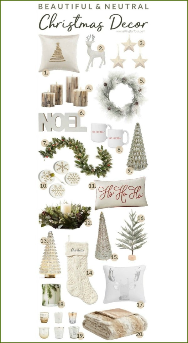 Beautiful, neutral Christmas decor ideas for the home! Great gift ideas! Farmhouse Modern style.