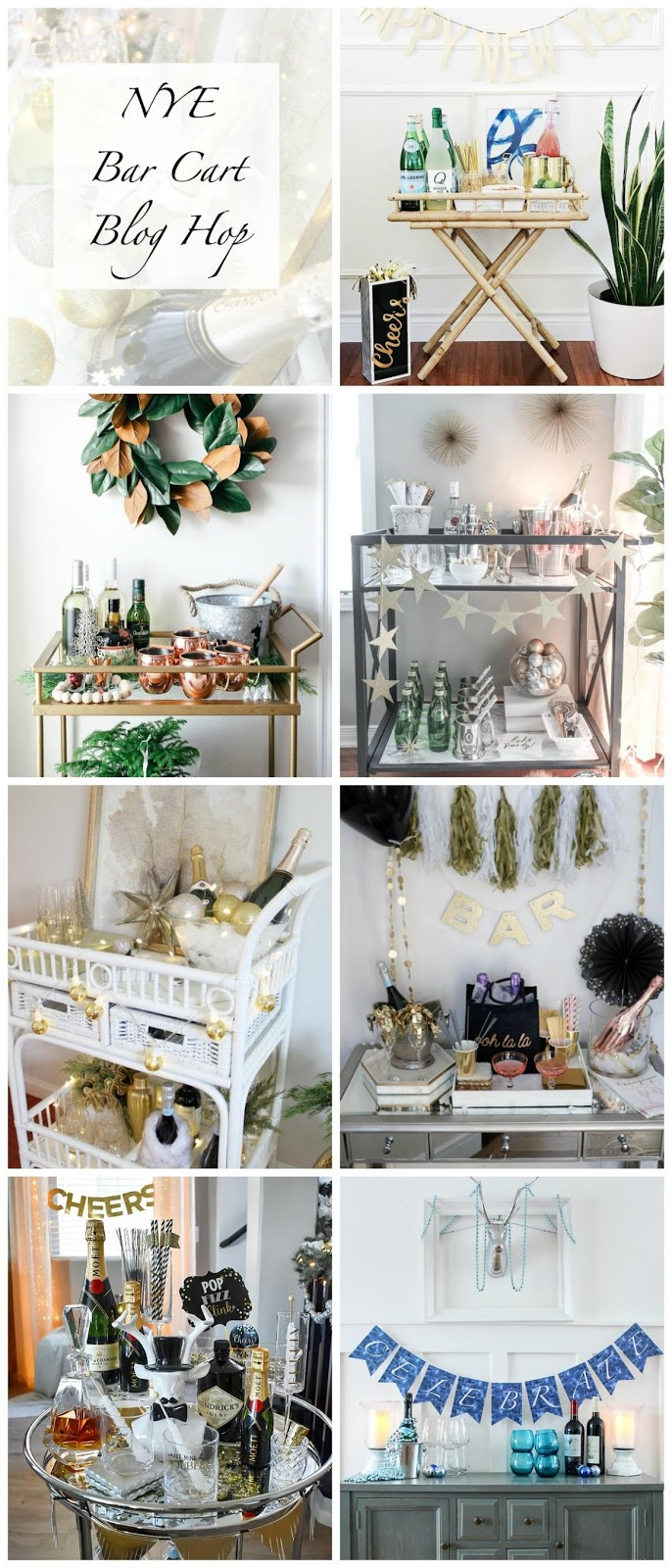 7 New Year's Eve Bar Cart Decor, Party Supply & Entertaining Ideas! #newyearseve, party #supplies #barcart #barware #Prosecco #champagne #banner #decor #holiday #entertaining