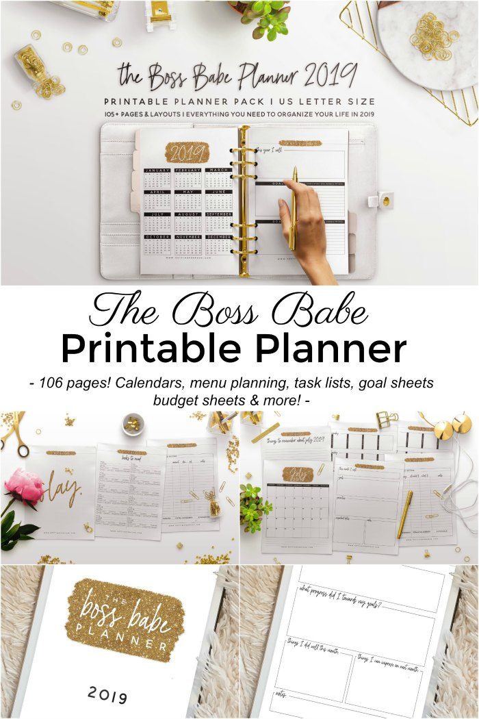 2019 Printable Planner with 106 pages! Menu planning, budget tracking, daily, weekly and monthly planning, calendars, goal trackers, lists and more! #2019 #planner #printable #organization #menuplanning #family #moms