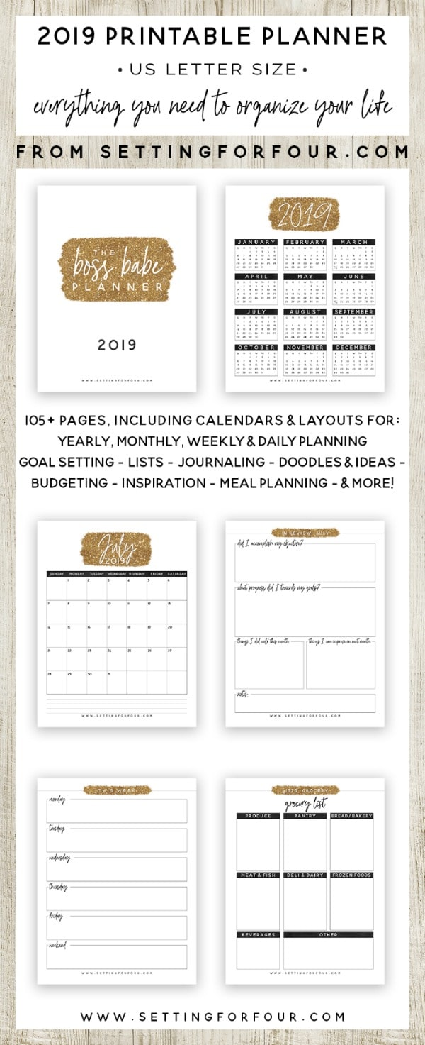 Beautiful 2019 Planner Printable! 106 pages of calendars, daily planners, goal setting lists, menu planners, budget lists, bill payment, journalling and more! #printable #planner #2019 #organization #calendars #goalsetting #moms #entrepreneurs #menuplanning