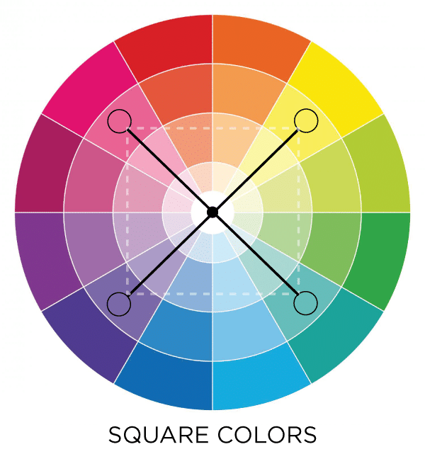 Use the Square color scheme in the color wheel to get a designer look! #colorscheme #colorwheel #designer #lively #bold #bright #style