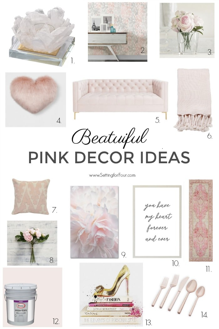Beautiful pink decor ideas for the home! #decor #homedecor #decorideas #pink #furniture #art #pillows #throws #paintcolor #wallpaper #tabletop