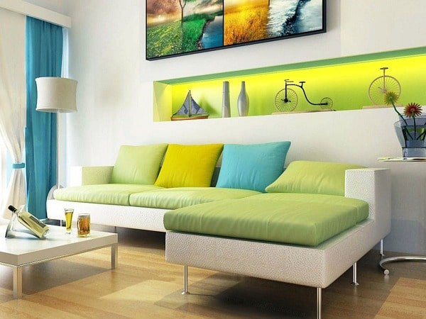 How to create a bright living room with a Blue-Green, Green, Yellow-Green analogous color palette. #analogous #color #paint #colorpalette #bright #livingroom