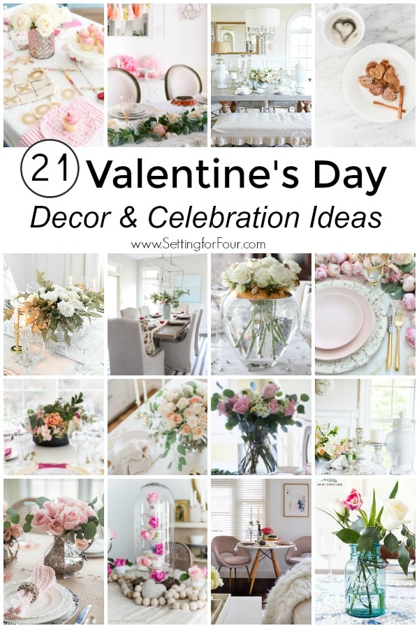 21 Valentine's Day Decor & Party ideas! Galentine's party ideas & Valentine's breakfast ideas, diy decor ideas, tablescapes and romantic ideas too! #valentinesday #party #tablesetting #galentinesparty #breakfast #dinner #valentinesdaydecor