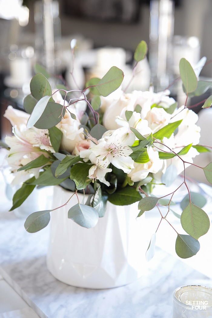 DIY eucalyptus, alstroemeria, rose flower arrangement. #DIY #centerpiece #flowers #rose #alstroemeria #eucalyptus #vase #flowerarrangement