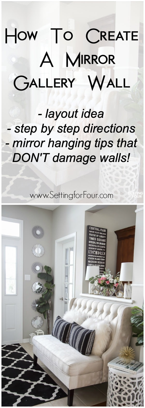 How to create a beautiful mirror gallery wall! Instructions, layout idea and mirror hanging tips that don't damage walls! #damagefree #nonails #commandstrips #3mcommand #mirrors #gallerywall #decor