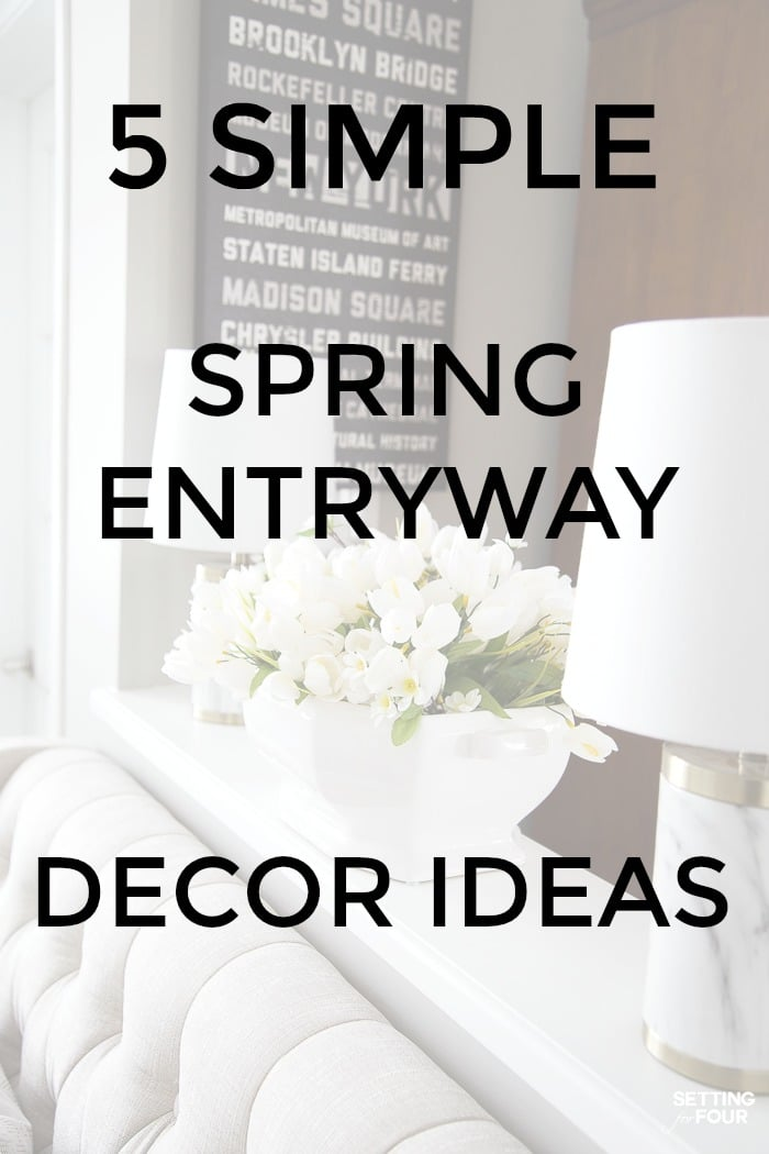 5 simple Spring entryway decor ideas to transition a foyer from winter to spring! #foyer #entryway #spring #decorideas #ideas #space #simple
