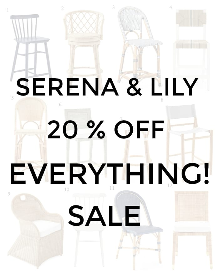 OMGEE!! Check out the Serena & Lily Sale! 20% OFF EVERYTHING! Furniture, rugs, pillows, lighting! Great time to pick up wedding gifts, birthday gifts too! #shopping #sale #savings #money #furniture #gifts #lighting