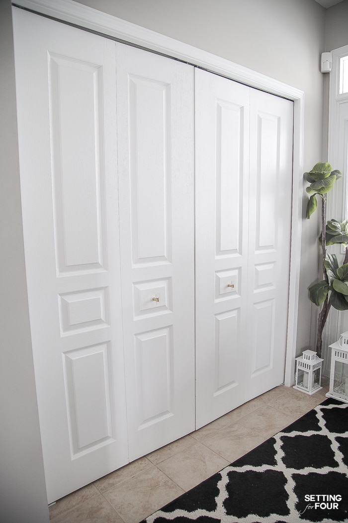 Quick and East Closet Bifold Doors Makeover! Adds value to a home -great home resale project idea! #home #resale #closet #bifold #doors #makeover