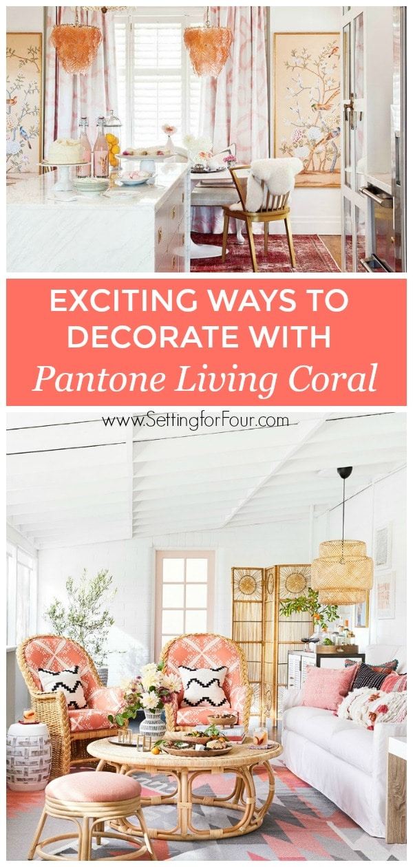 Exciting ways to decorate with Pantone Living Coral - Color of the year 2019! #coral #paint #pantone #livingcoral #furniture #decor #lighting #color