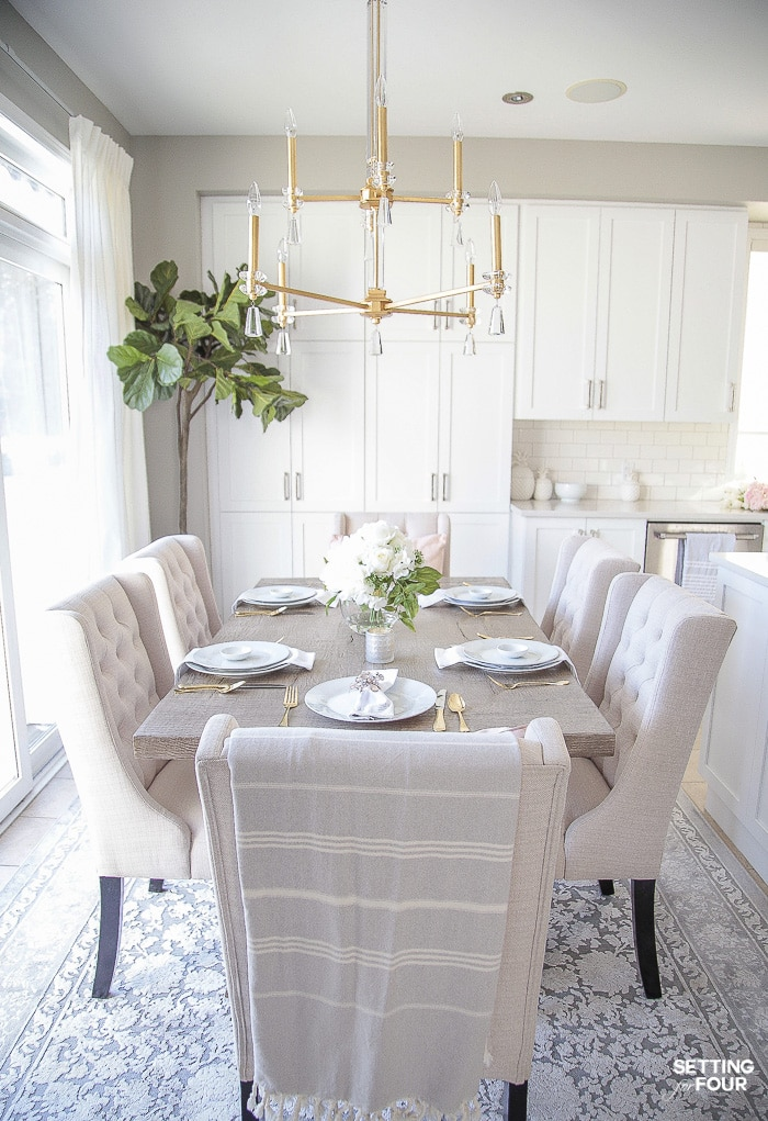 Spring kitchen table decor. #spring #table #decor #decorideas #ideas #restorationhardware