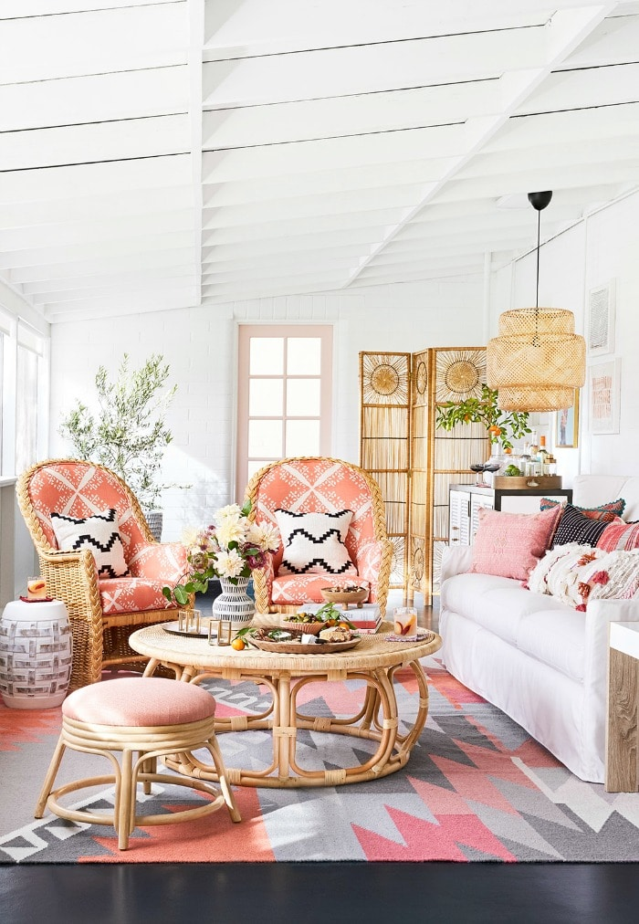 Living Area using Pantone Color of the Year Living Coral! #livingcoral #pantone #livingroom #decorideas #lighting #interiordesign