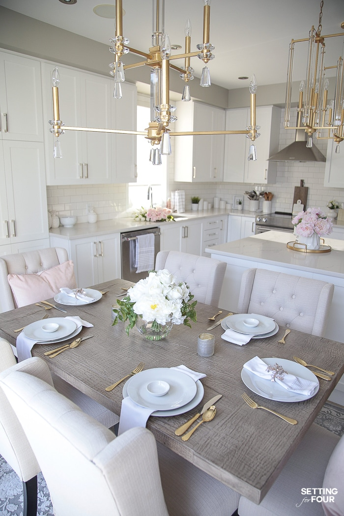 Spring kitchen. Lighting, dining furniture, floral decor. #spring #kitchen #lighting #gold #pink #color