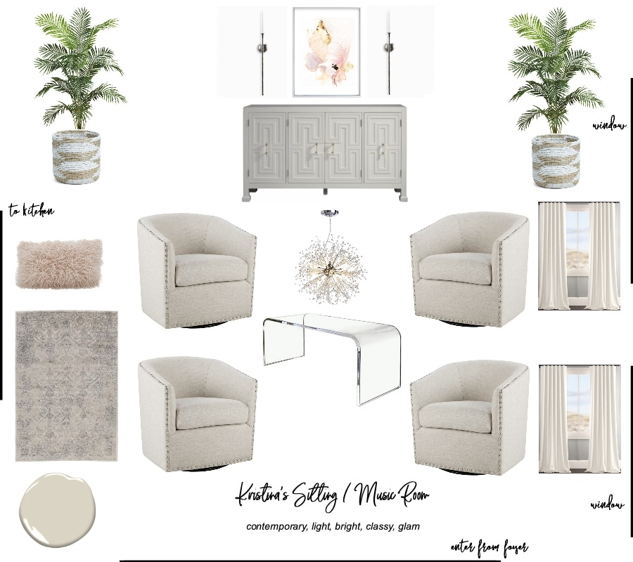 Living room design and mood board. Transitional, glam, contemporary, modern interior design. #edesign #livingroom #musicroom #elegant #classy #white #furniture #lighting #pink