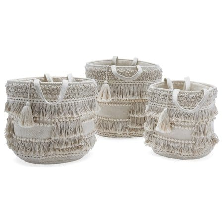 Check out these gorgeous hand woven baskets with fringe and tassels! Beautiful organization and storage! #handwoven #decor #organization #storage #baskets #walmart