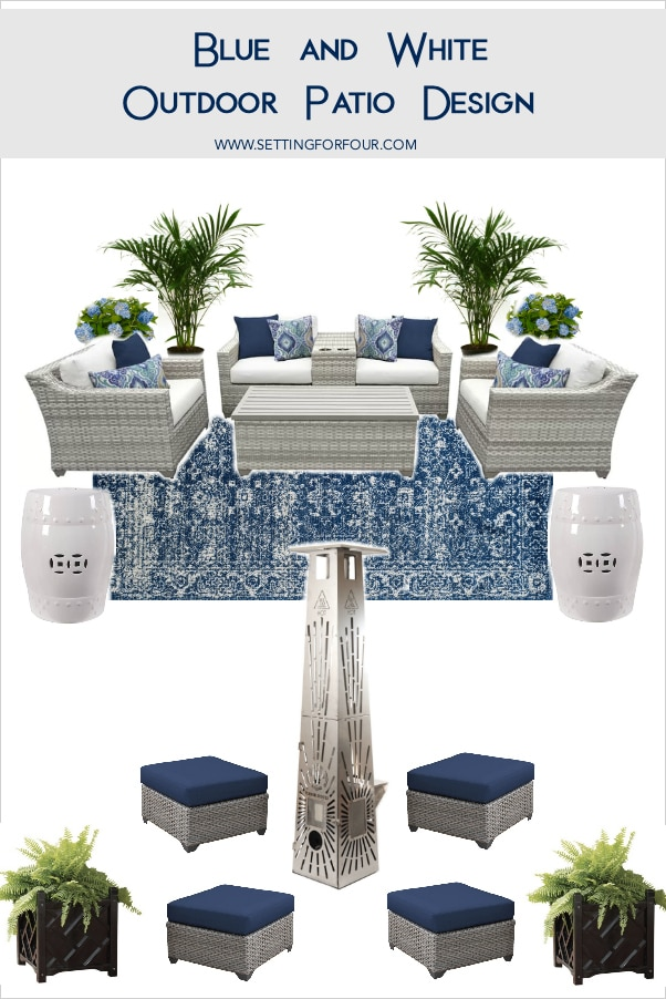 Blue and white outdoor patio design with outdoor furniture, rug and container plants.