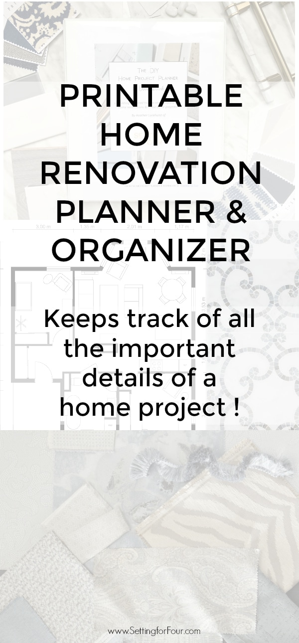 Get this PRINTABLE HOME RENOVATION PLANNER & ORGANIZER to save you money and time!