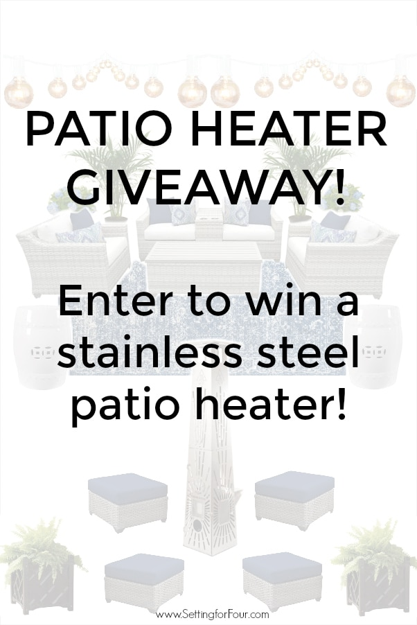 Patio Heater Giveaway graphic with overlay text.