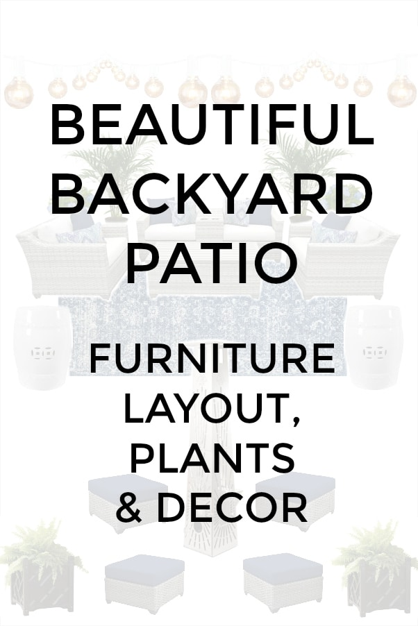 Outdoor patio design with outdoor furniture, rug and outdoor decor.
